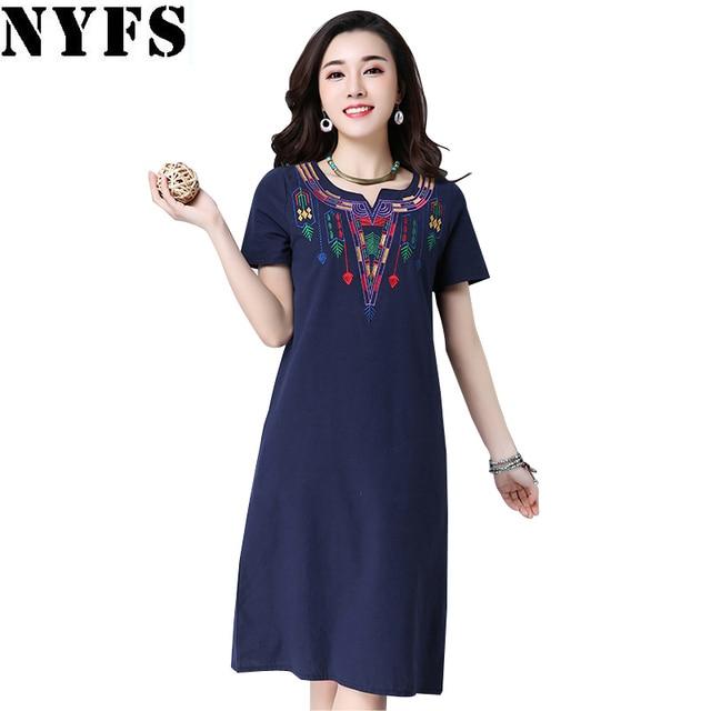 2018 New Loose long Dress Summer dress Casual Plus Size Women Dress cotton Linen Embroidered V-collar Slim Vestidos Robe Dresses
