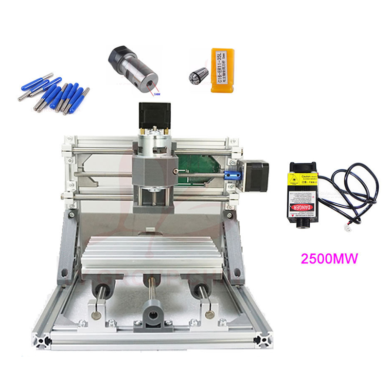 Mini CNC 1610 Machine and 2500MW Laser Engraver 2 in 1 Pcb Milling Machine Wood Carving Machine CNC1610 GRBL Control