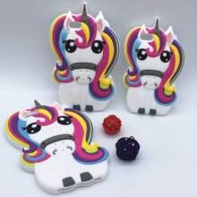 New 3D Cartoon Rainbow Unicorn font b Case b font Soft Silicon White Horse font b
