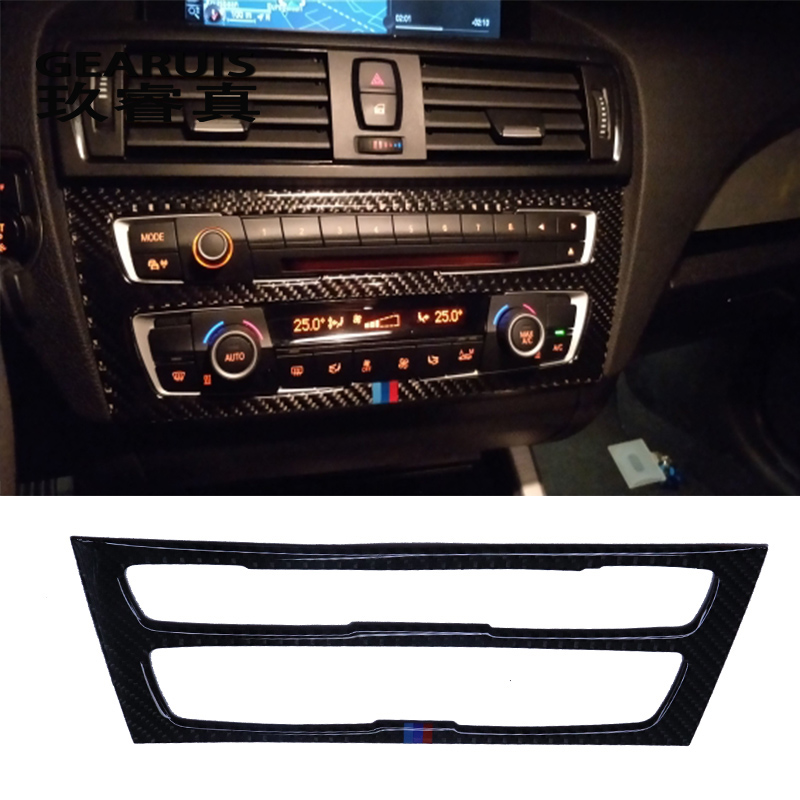 Car styling Carbon Fiber Car Interior Air Conditioning CD Panel Cover Sticker Trim For BMW F20 1 Series auto Accessories f20 carbon fiber replace car mirror cover cap trim for bmw f20 auto styling 2012 2014
