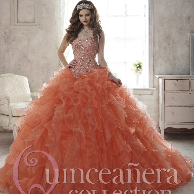 3b4532d52ef Orange Beaded Long Formal Quinceanera Dresses Hot Sale Organza Sweetheart  Neckline Ruffled Ball Gown Lace up