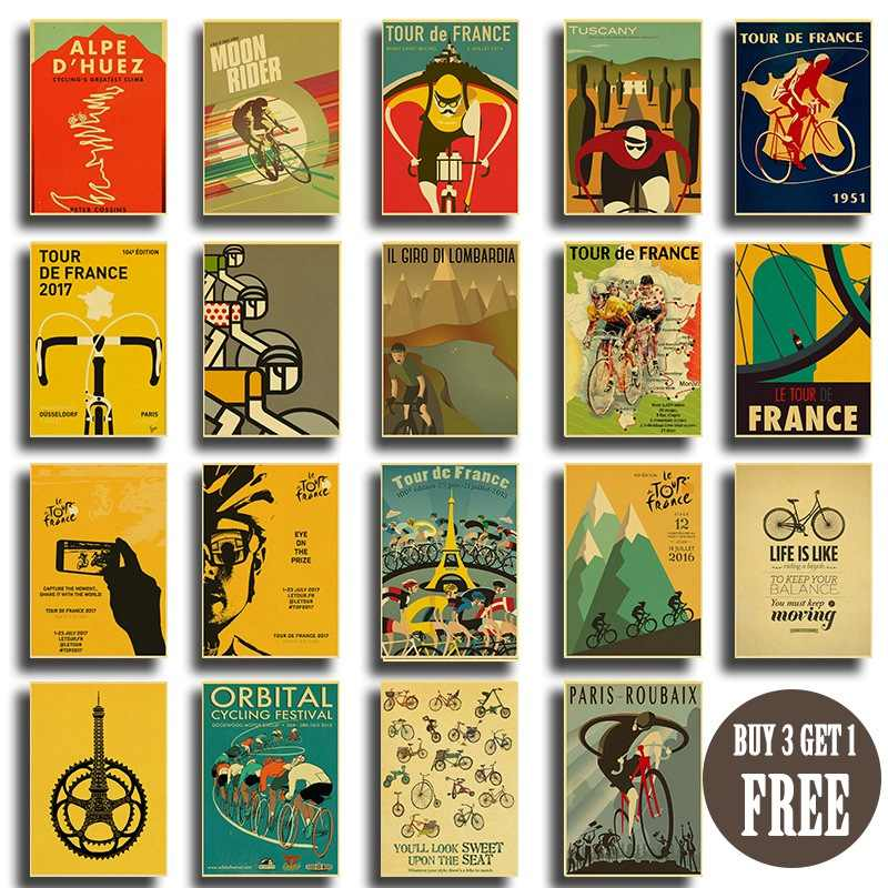 Retro wall sticker bicycle exercise sport classic movie poster mountain bike ride decorative posters home art wall painting