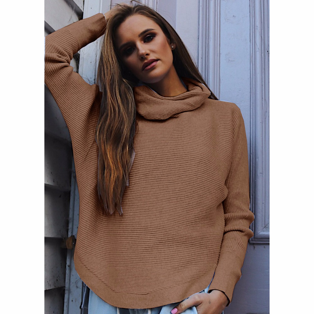 Women High Neck Long Sleeve Knitted Warm Pullover Jumper Turtleneck Sweater Large Loose Sweater Female Cable Knit Jumper