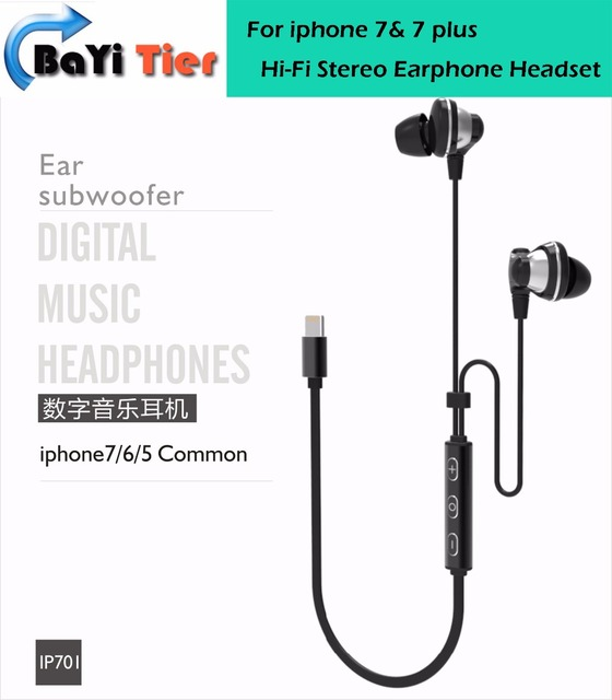 for Lightning Earphones Hi-Fi Stereo Earphone Headset In-Ear Earbud Headphones For iphone 7 /7 plus  in Stock