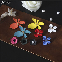3Size Korean Style Cute Flower Earrings Colorful Petal Stud for Women Brinco Statement Female Fashion Jewelry Gift Girl