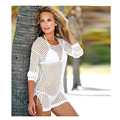 Summer 2016 Sexy Women's tunic female long sleeve mesh Bikini Swimwear Cover Up sun-protective tops TE34101160001