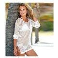 Verão 2016 Sexy túnica das Mulheres do sexo feminino manga longa malha Bikini Swimwear Cover Up sun-proteção tops TE34101160001