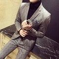 2017 Xadrez Ternos Formais Dos Homens Ternos Jaquetas Grande Plus Size 5XL 3 Peça Set Fatos Sociais Britânico Elegante Blazers Magro Vestido de Noiva
