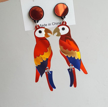 New European Fashion Night Club Hip Hop Exaggerated Jewelry Women Animal Color Acrylic Long Parrot Earrings