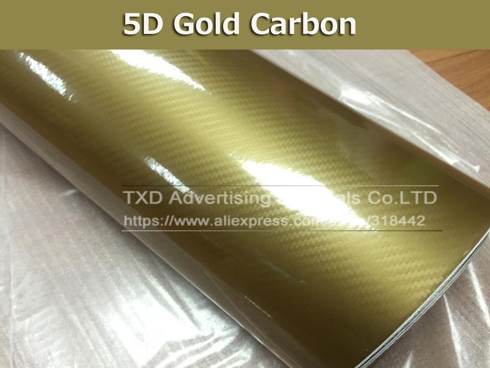 Высокое качество ультра-синий глянец 5D углеволоконная виниловая Обёрточная бумага 4D текстура супер глянцевая 5D углерода Обёрточная бумага s с 10/20 Вт, 30 Вт/40/50/60X152 см - Название цвета: gold