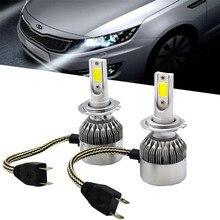 Pair Car LED H7 Headlight Plug Bulbs Fog lamp 72W 7600LM 6500K Xenon White C6 Super Bright Cooling Belt Design Current Regulator