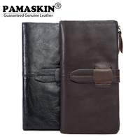 Long Style Men Wallets 100 Premium Cowhide Leather Large Capacity Clutch Purses For Men 2017 New