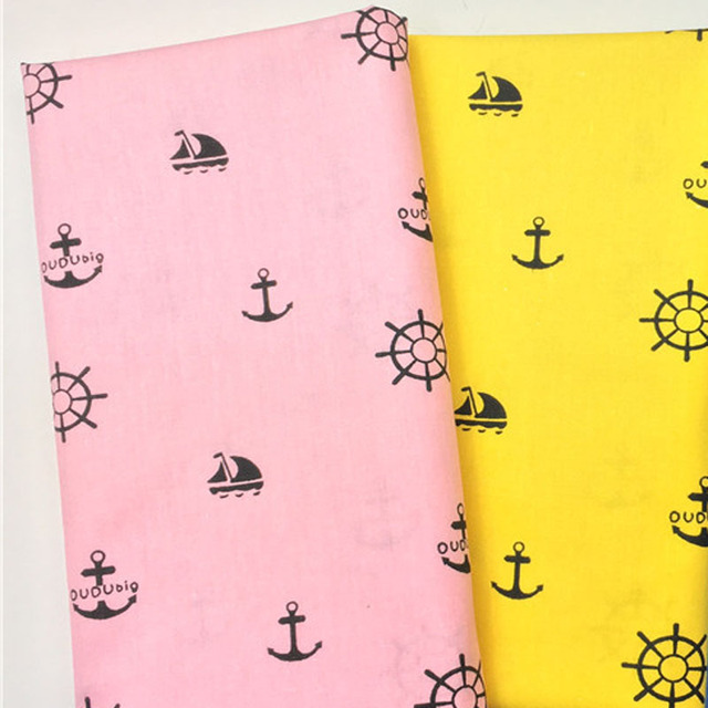 Pretty Yellow Pink Ship Anchor Printed Cotton Fabric Fl For Diy Sewing Bedding Quilting