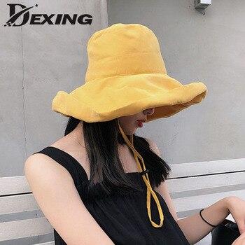 2019 Anti-UV foldable cotton Breathable summer sun hat for women panama wide Brim beach hat ladies Girls outdoor korean sea cap 自宅 ワイン セラー