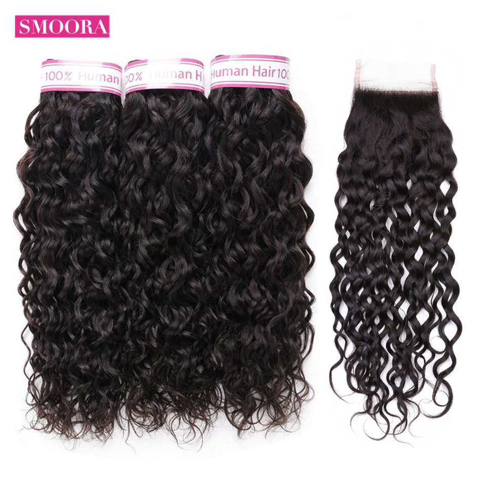 Water Wave Bundles With Closure Non Remy Human Hair 3 Bundles With Closure 4*4 inch Smoora Malaysian Hair Bundles With Closure-in 3/4 Bundles with Closure from Hair Extensions & Wigs    1
