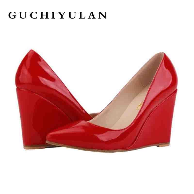 Лакированная кожа 10 см Криперс мода Для женщин дизайнерская обувь черный/красный весенние Брендовые женские на платформе вечерние туфли ...