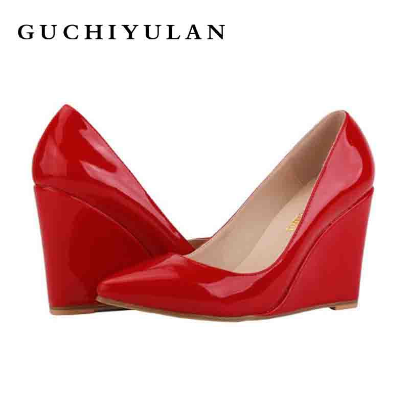 Patent Leather 10cm creepers fashion Women Designer Shoes Black/Red Spring Brand Ladies Platform Wedge party Shoes zapatos mujer ladies shoes espadrilles luxury women creepers 2016 wedge shoes woman genuine leather women creepers fashion platform shoes