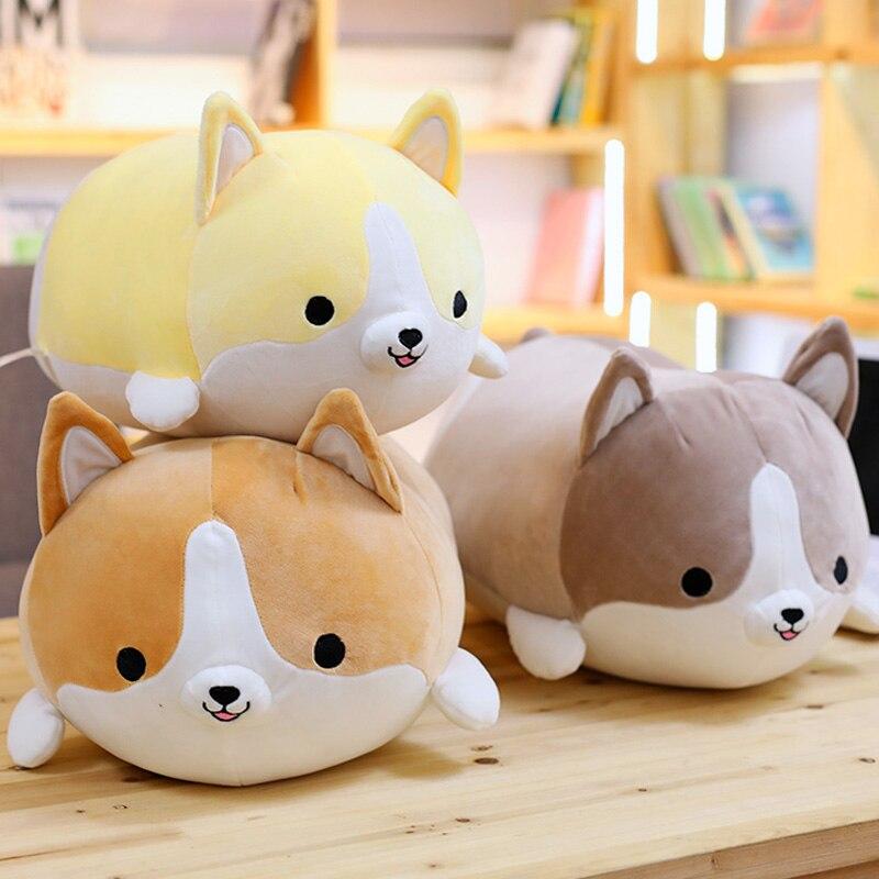 Mignon Corgi Chien poupée oreiller Shiba Inu jouet en peluche qui tient de couchage poupée animal En Peluche oreiller cadeau pour bébé 35 cm