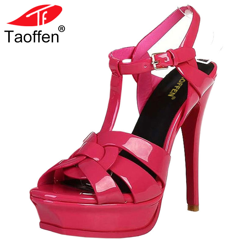 TAOFFEN Free Shipping Quality Genuine Leather 9cm/14cm High Heel Sandals Women Sexy Footwear Fashion Lady Women Shoes Size 33-40 taoffen women high heel sandals buckle open toe mixed color genuine leather ladies shoes sexy sandals party footwear size 33 40