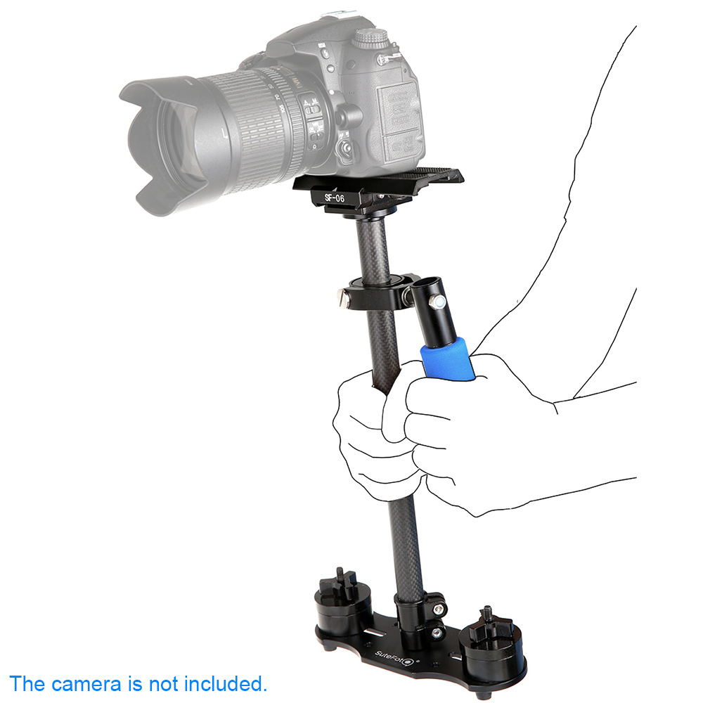 SF-06 Mini Handle Grip Load up to 3Kg Carbon Fiber Video Camera Stabilizer for Canon Nikon Sony Pentax DSLR Camcorder DV new mini handheld for sony pentax canon nikon dslr cameras carbon fiber video camera stabilizer grip with quick release plate
