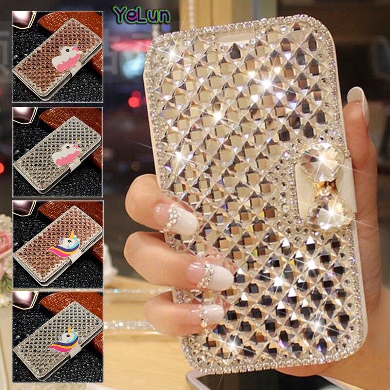 Yelun For LG Q8 V30 Q6 V9 X Power 2 K4 2017 M470 G6 LV5 LV3 V34 V20 X5 K10 2017 3D Diamond Crystal Luxury Flip PU Leather Case