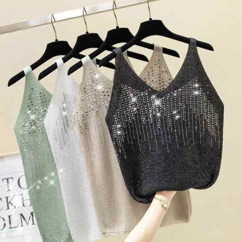 2019 Vrouwen Zomer Casual Lovertjes Cami Sexy Hemdje Tank Top Tees Elegant T-shirt Bralette Tops Mouwloos T-shirt Hemd