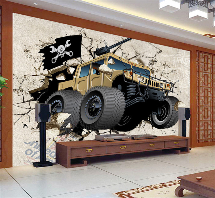 Custom mural wallpaper 3D cartoon broken wall out car photo wallpaper children bedroom living room TV background home decor