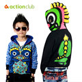 2015 Wholesale Boy Autumn Dinosaur Children Clothing Sweatshirts With Cap Cute Animals Sudaderas Ninos Free Shipping KU977