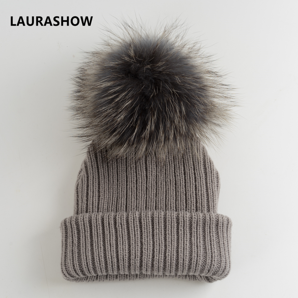 LAURASHOW Kids Winter Fur Pompoms Fur Ball Cap Boys Girls Beanie Fur Knit  Child Wool Hat-in Hats   Caps from Mother   Kids on Aliexpress.com  3451912bc7f