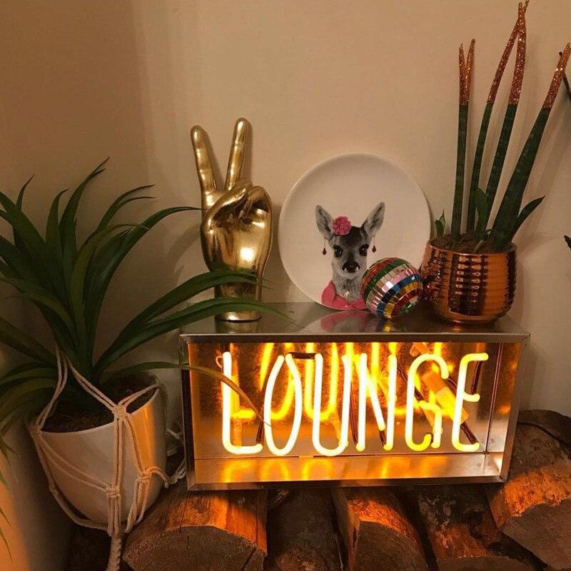 Nouveau Design rétro Tube de verre néon ampoule lampe salon/bonjour/café/bienvenue forme néon rose jaune éclairage pour la décoration de la maison