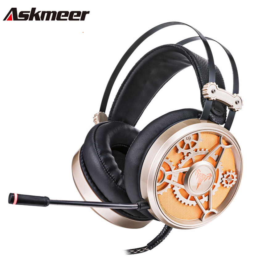 Askmeer V19 Best PC Gaming Headphones for Computer Gamer Deep Bass Game Headset USB+3.5 Casque With Microphone Noise Isolating salar c13 wired gaming headset deep bass game headphones best casque gamer with mic led light headphone for computer pc gamer