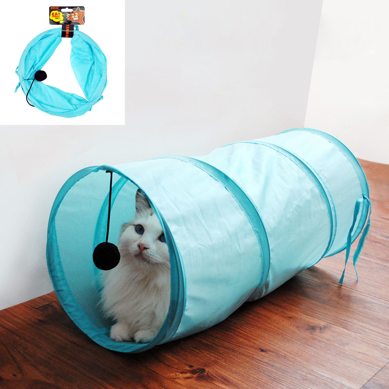 Pet Supplies Cat Toy Foldable Polyester Fabric Drill Barrel Cat Tunnel Tents Totoro Balls Toys