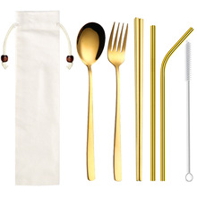 Golden Cutlery Set Stainless Steel Straw Chopsticks Fork Spoon Metal Dinner with Bag for Travel Flatware