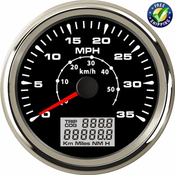 New Arrival 0-35MPH Speedometers Tuning 85mm GPS Speed Mileometer 0-50km/h 316L Bezel Speed Chart Red Green Blue Backlight Color