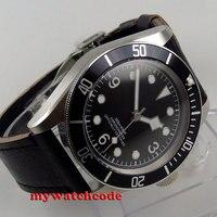 41mm corgeut 블랙 무균 다이얼 블랙 베젤 사파이어 자동 태엽 시계