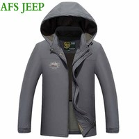 Afs JEEP Autumn And Winter Models Middle Aged Men Hooded Quick Dry Casual Jacket Fashion
