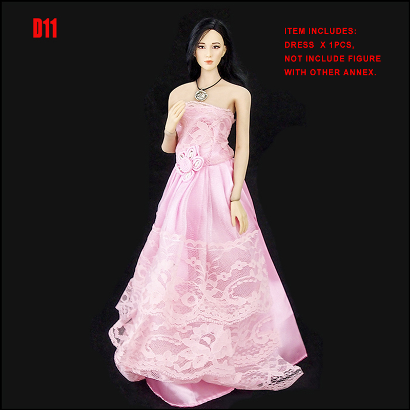 """1:6 Clothes Accessory Pink Evening Dress Model For 12/"""" Female Figure"""