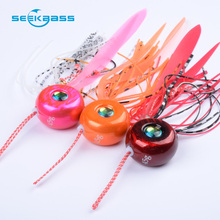 цена на SeekBass 4pcs 100g/80g/60g/45g  Slider Snapper Sea bream Jig head with skirt lead jig jigging lure metal fishing lure Rubber Jig
