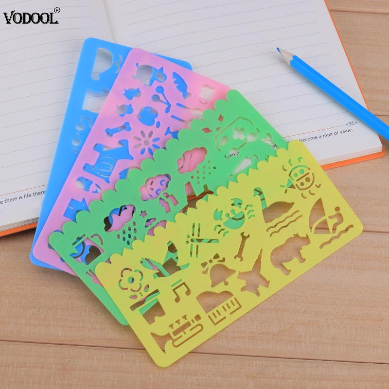4pcs Plastic DIY Graphic Template Stencil Sketch Board Symbols Drawing Kids Drafting Straight Ruler Student School Stationery