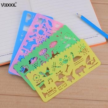 4pcs Plastic DIY Graphic Template Stencil Sketch Board Symbols Drawing Kids Drafting Straight Ruler Student School Stationery image