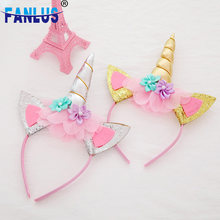 1pcs Gold Pink Unicorn Children Birthday Party Decorations Theme Baby Shower Decoration Crown for Kids Baby One Year Birthday(China)