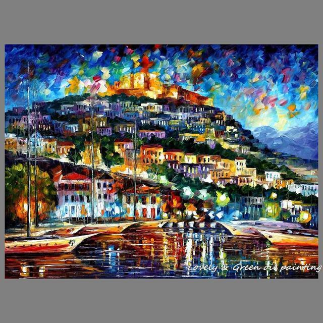 4134 100 Pintado A Mano Edificios De La Ciudad De Cuchillo De Paleta Textura Gruesa Paisaje Pintura Al óleo Sobre Lienzo Para Decoración Del