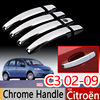 For Citroen C3 Mk1 Chrome Handle Covers Trim Set for Hatchback Pluriel Car Accessories Stickers Car Styling 2002-2009 2004 2006