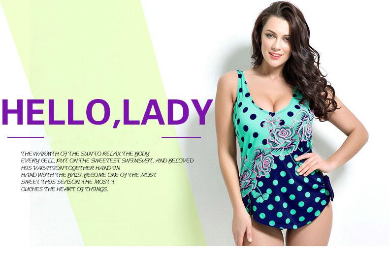 Latest ! Vintage Pad Swimwear Women Retro Plus Size One Piece Swimsuit Dress 4XL Floral Dot Backless Soft Bathing Suit F1692 1