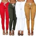 2016 New Fashion Women Pants Long Casual Pencil Pants Solid High Waist Elastic Cotton Pockets Trousers
