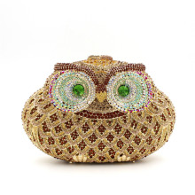 Desinger Full Diamond Animal Owl Women Bags Crystal Handmade Prom Clutch Evening Bags Luxury Clutch Party Bags Chain Handbags