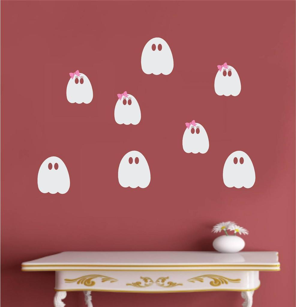 cute ghosts halloween fall decor wall decoration for kids room vinyl wall decal art mural removable - Halloween Wall Decoration