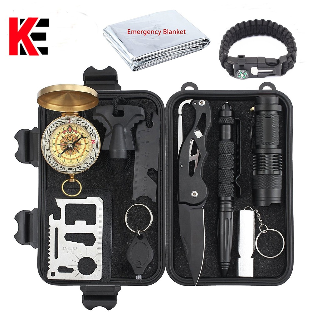 Tactical 10 in 1 survival Outdoor Camping tourism Survival Gear Kits Portable Emergency Survival Tools Whistle compass knife survival whistle with compass thermometer and magnifier oem