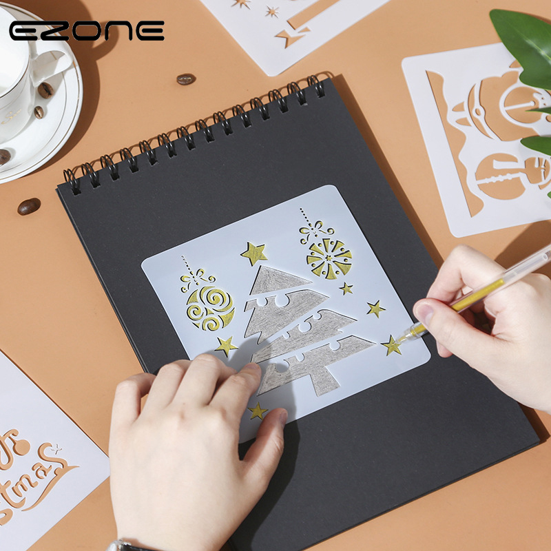 EZONE Christmas Painting Ruler  Elk Christmas Tree Letter Template Ruler Hollow Template Stamp DIY Drawing Tool Students Supply