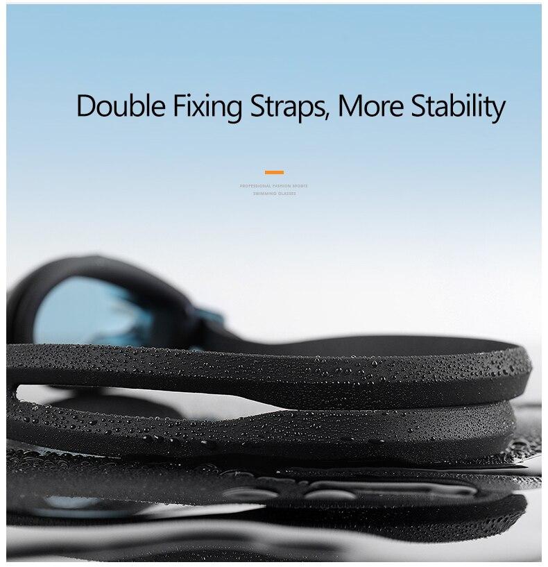 Unisex Professional Myopia Silicone Swimming Pool Glasses Anti Fog Waterproof 19